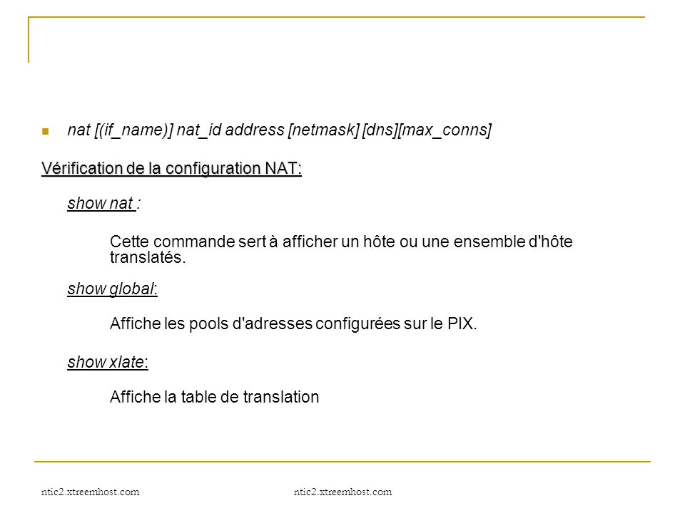 nat [(if_name)] nat_id address [netmask] [dns][max_conns]